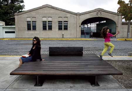 Community Bench 1997 Seat And Back Seat Made Of Gar Wooden Boards Painted Steel Structure 78 X 78 In 200 X 200 Cm Seat Height 14 In 37 Cm